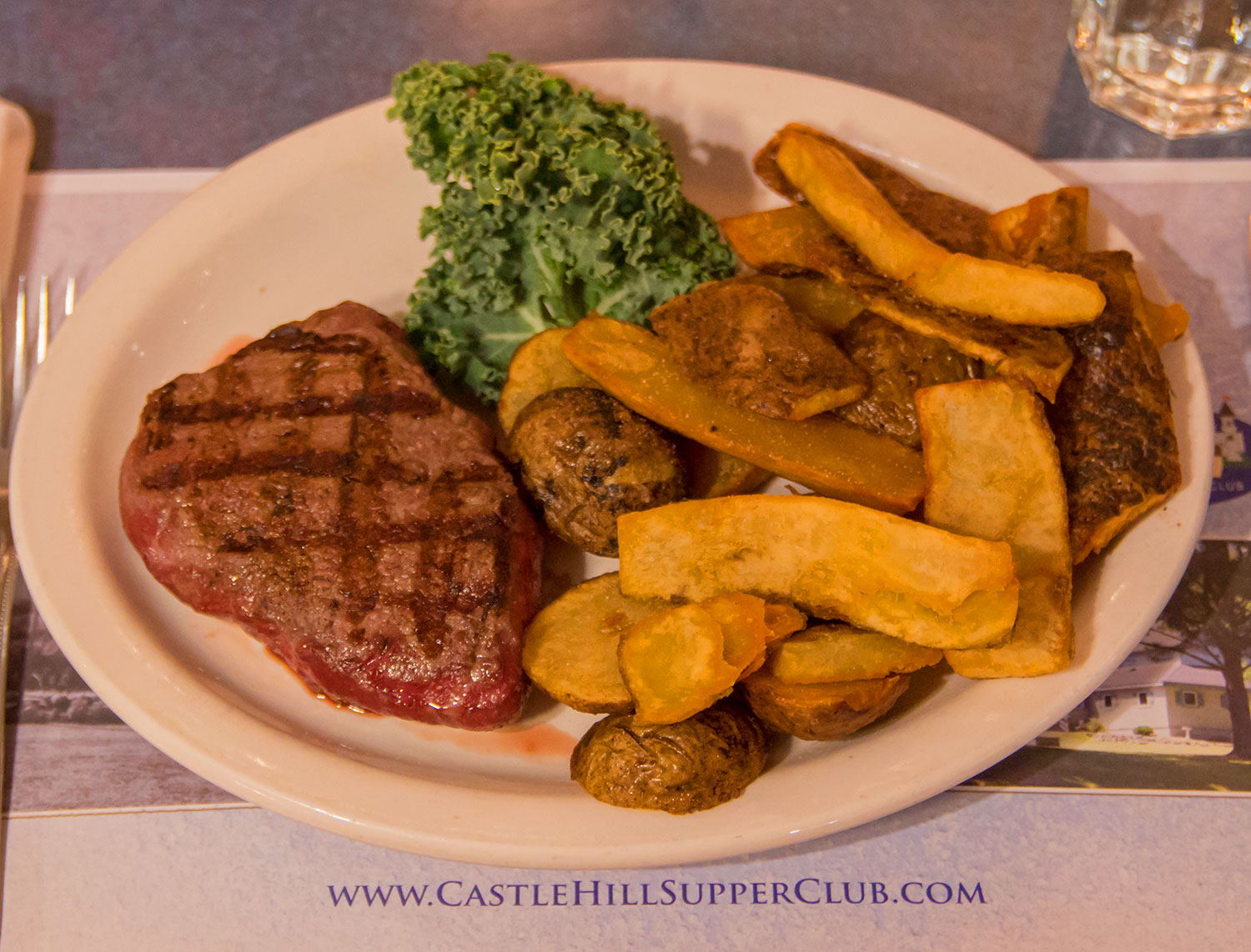 steak and sweet potato fries Castle Hill Supper Club - restaurant and banquet facility